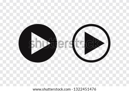 Play button vector icon, music audio and video player play button in circle - Vector