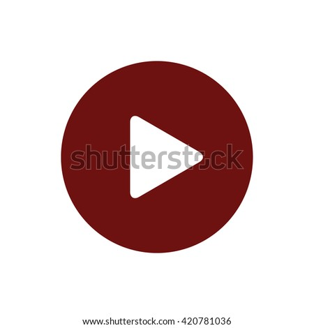 Play button vector icon. Red circle. Red button