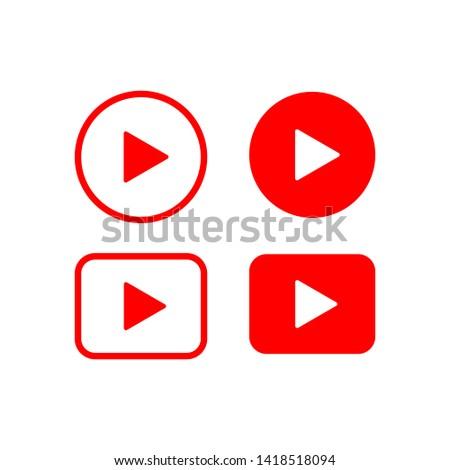 Play Button Video Icon Vector Design Illustration #1418518094