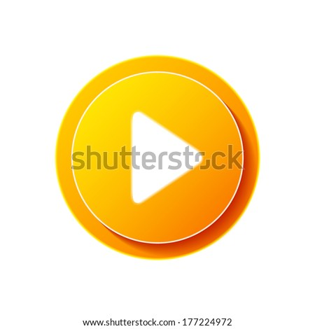 Play button web icon. Vector symbol circle isolated. Click, push the button, begin, start, forward, record, stop audio or video
