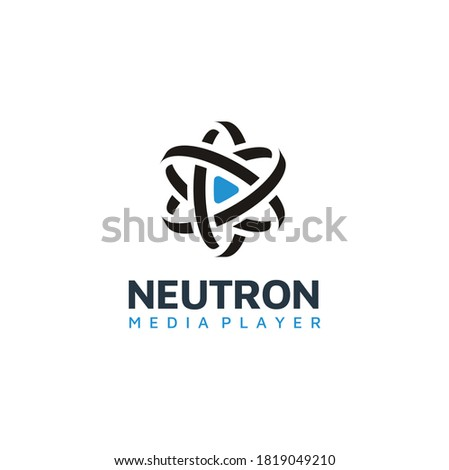 Play Button with Atom Nucleus for Science Media Player Apps Icon Logo design Stock photo ©