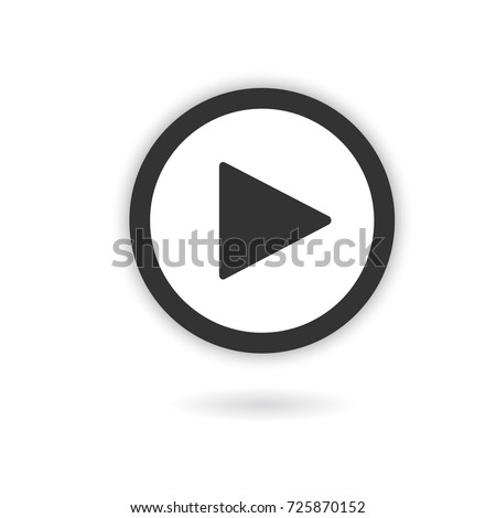 Play button with shadow on white background. Isolated sign for web. Vector icon.