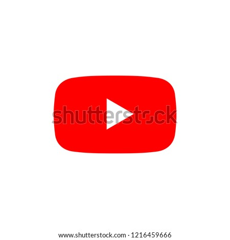 play button youtub, you tube video icon, logo symbol red banner, flat  vector, social media sign, mobile app, web video mark vector  Photo stock ©