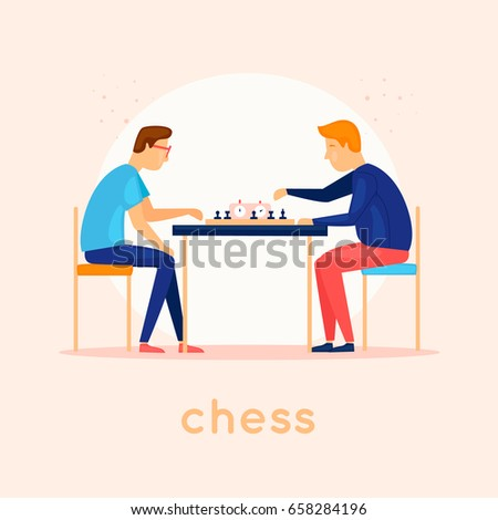 play chess characters flat