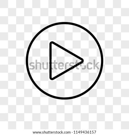Play Circular Button vector icon on transparent background, Play Circular Button icon