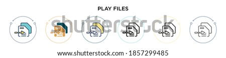 Play files icon in filled, thin line, outline and stroke style. Vector illustration of two colored and black play files vector icons designs can be used for mobile, ui, web