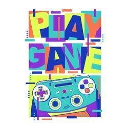 Play game typography, tee shirt graphics, vectors