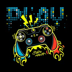 Play gamepad poster. Joystick with fire.  Gamer elements for boy t shirt design