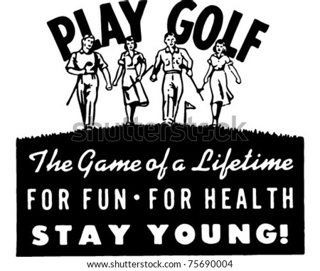 Play Golf 2 - Retro Ad Art Banner
