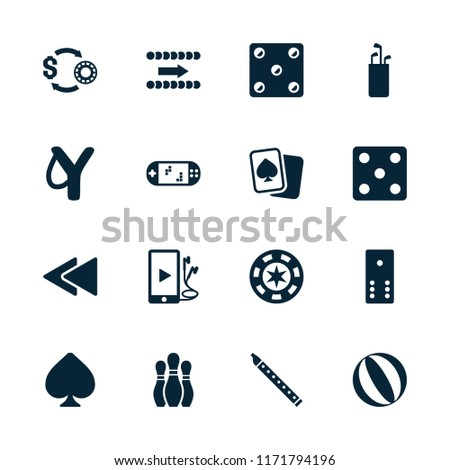 Play icon. collection of 16 play filled icons such as dice, slingshot, golf putter, casino chip, bowling, spades, casino chip and money. editable play icons for web and mobile.