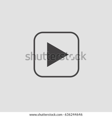 Play icon. Flat design. Vector illustration. White grey. #636244646