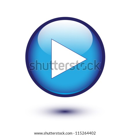 Play icon on blue glossy button