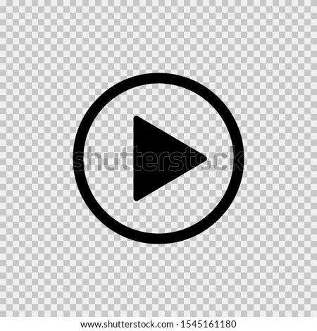 Play icon on transparent background. Isolated vector sign symbol. Web media symbol. Symbol button play video. EPS 10