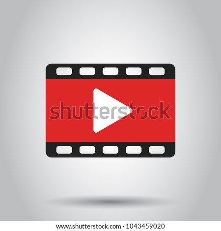 Play icon vector. Play video illustration in flat style. Business simple flat pictogram on isolated background.
