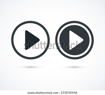 Shutterstock Play icons. Vector buttons