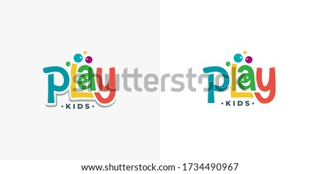 Play Kids Typography Logo Design Template