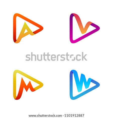 play logo set  letter logo set