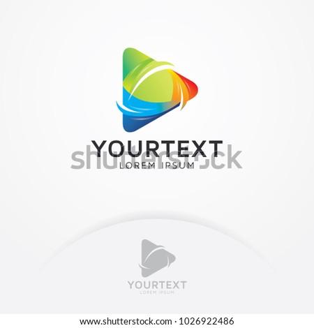 Play media logo. Multimedia vector logo symbol, Abstract colored vector icon. Abstract play button symbol - Vector logo template