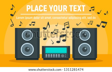 Play music stereo system concept banner. Flat illustration of play music stereo system vector concept banner for web design