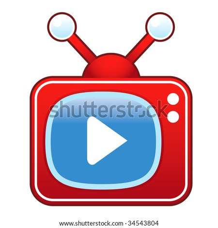 Play or advance media player icon on retro television set suitable for use in print, on websites, and in promotional materials.