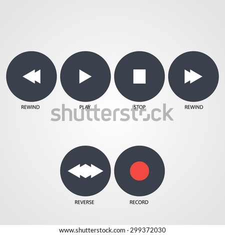 Play,Record, Stop,Rewind, icons, reverse Vector buttons
