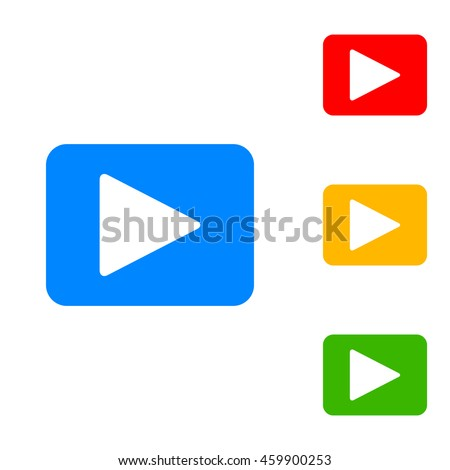Play sign illustration. Colorful set of icon - blue, red, yellow, green. #459900253