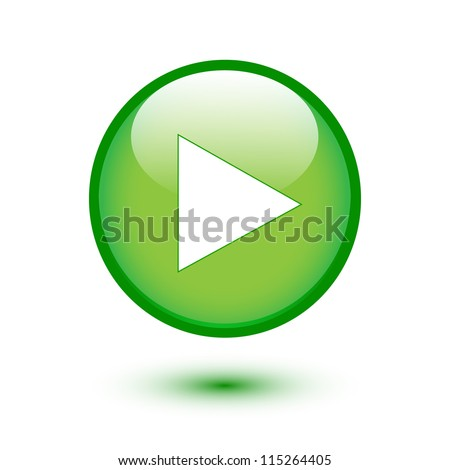 Play sign on green glossy button