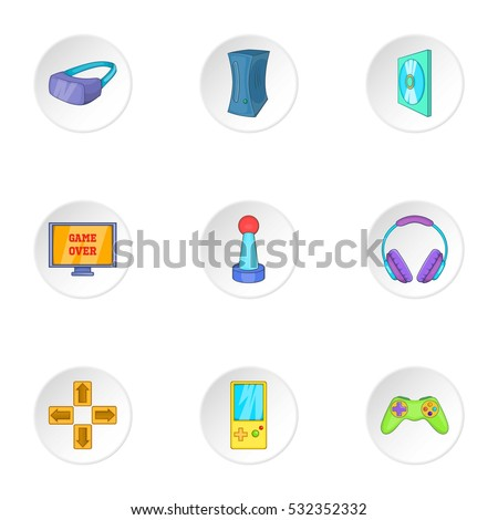 play station icons set cartoon