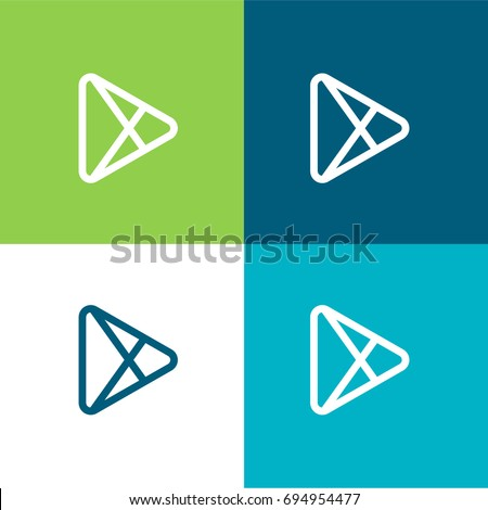 Play Store green and blue material color minimal icon or logo design