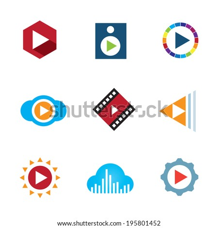 Play the video button cloud creative music icon tape logo elements