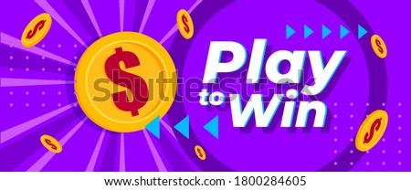 Play to Win Online Games Money Cash Contest Vector Web Banners