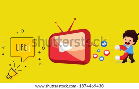 Play Tv Megaphone and world like with boys hold large magnets idea atteaciting viewers socail media. Photo stock ©