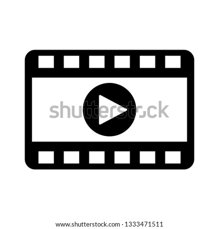 Play video icon in flat style. Movie icon.