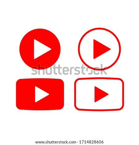 Play video icon, red buttons sign vector isolated on white background . Vector illustration EPS10.