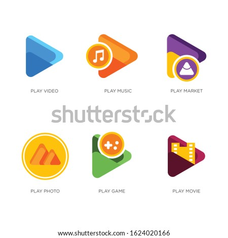 Play video, music, store, photo, game and movie vector icons.