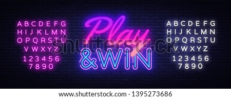 Play Win neon text vector design template. Gaming neon logo, light banner design element colorful modern design trend, night bright advertising, bright sign. Vector. Editing text neon sign