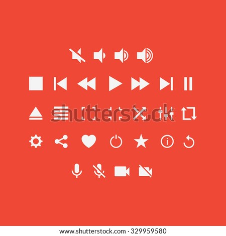 Player buttons in flat style. Player buttons on a colored background. Media player buttons. Player icons buttons. Vector media buttons, video button. Set audio and video player buttons.
