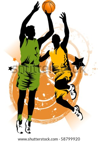 player in basketball at the background of basketball rings (vector); - stock vector