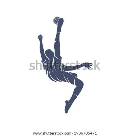 Player takraw soccer design vector illustration, Creative Takraw soccer logo design concept template, symbols icons