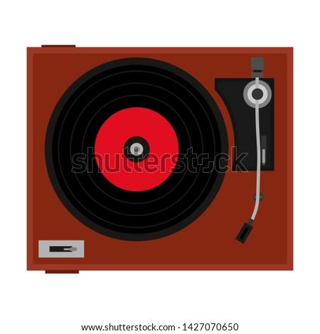 Player vinyl disc vector record music retroicon. Vintage disco DJ turntable. Label track classic pop album studio. Plastic circle scratch mix