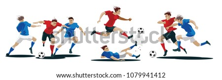 Players are fighting for the ball. Set of Soccer players. Vector Illustration