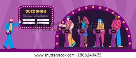 Players guessing quiz questions in the intellectual game show. Studio with program presenter and participants. Television erudite show. Vector flat cartoon illustration.