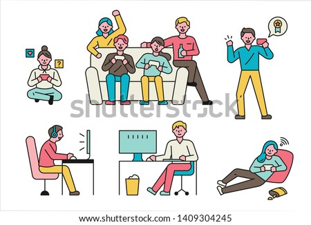 Players playing with various devices and poses. flat design style minimal vector illustration