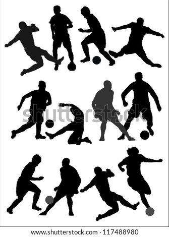 Players silhouettes,soccer,football.
