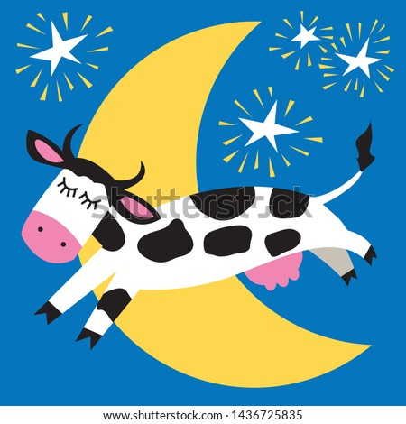Playful black and white cow jumping over the moon  Stock photo ©