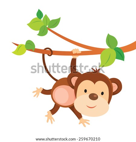 stock-vector-playful-monkey-cute-monkey-playing-and-gesturing