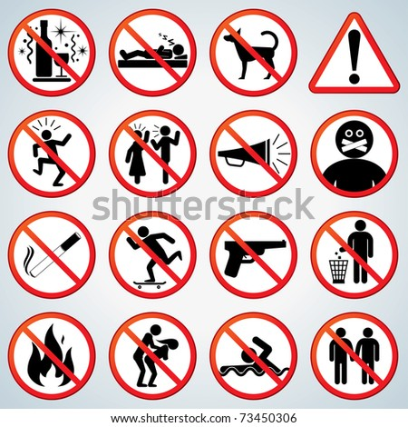 Playful Prohibited and Alerting Signs vector collection for your design and text