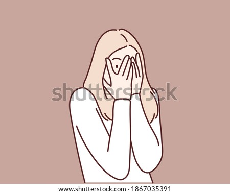Playful shy woman hiding face laughing timid. Hand drawn style vector design illustrations.