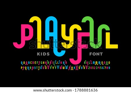Playful style font design, childish alphabet letters and numbers vector illustration Stock photo ©