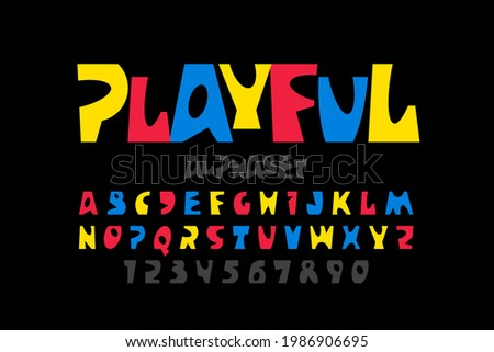 Playful style font design, colorful childish alphabet, letters and numbers vector illustration Photo stock ©